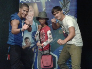 Najee De-Tiege aka Kevin the Samurai Blue Ranger, my daughter, and Alex Heartman aka Jayden the Samurai Red Ranger.